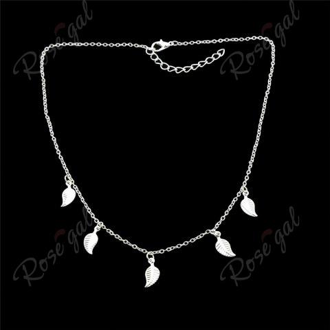 Chic Alloy Leaf Chain Charm Necklace - SILVER  Mobile