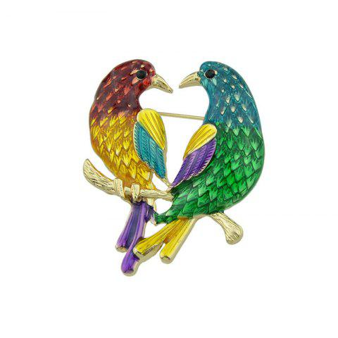 Online Alloy Doubled Bird Brooch GOLDEN