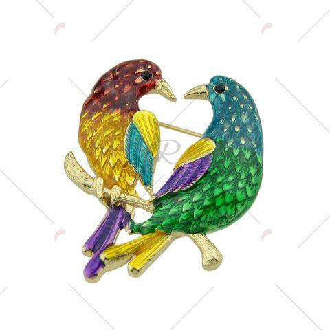 Discount Alloy Doubled Bird Brooch - GOLDEN  Mobile