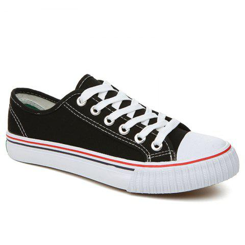 Classic Low-top Canvas Sneakers - Black - 43