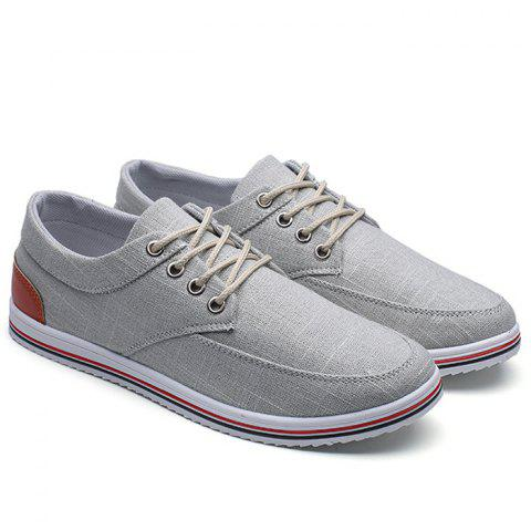 Lace Up Canvas Sneakers - Gray - 40