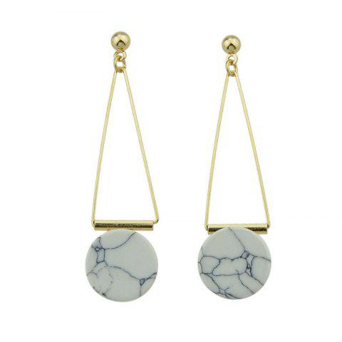 Fancy Faux Rammel Disc Triangle Drop Earrings WHITE