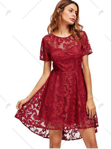 Affordable Open Back Lace Mesh Cocktail Party Dress - XL RED Mobile