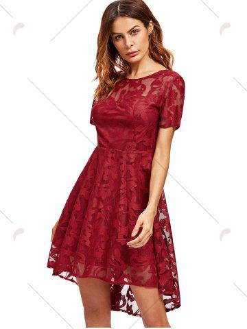 Trendy Open Back Lace Mesh Cocktail Party Dress - XL RED Mobile