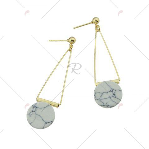 Trendy Faux Rammel Disc Triangle Drop Earrings - WHITE  Mobile