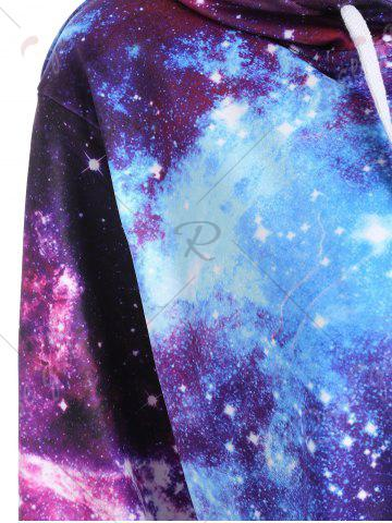 Sale Zippered Pocket Starry Sky Print Hoodie - M COLORMIX Mobile