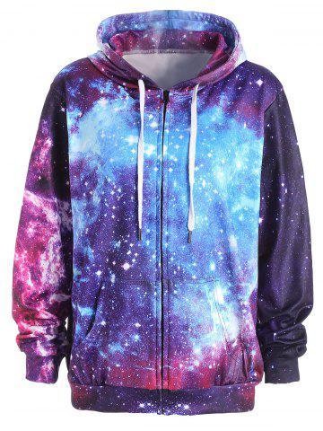 Trendy Zippered Pocket Starry Sky Print Hoodie COLORMIX M