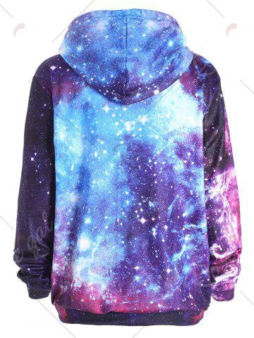 Shop Zippered Pocket Starry Sky Print Hoodie - M COLORMIX Mobile