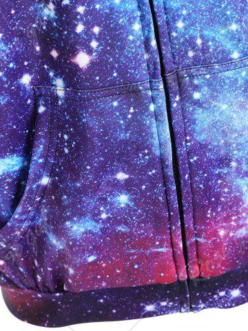 Online Zippered Pocket Starry Sky Print Hoodie - M COLORMIX Mobile