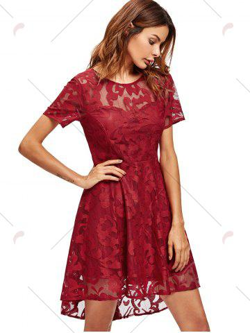 Online Open Back Lace Mesh Cocktail Party Dress - M RED Mobile