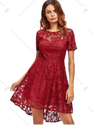 Cheap Open Back Lace Mesh Cocktail Party Dress - M RED Mobile