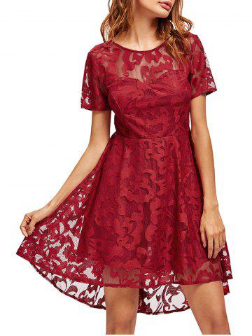Fashion Open Back Lace Mesh Cocktail Party Dress - M RED Mobile