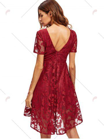 Outfits Open Back Lace Mesh Cocktail Party Dress - M RED Mobile