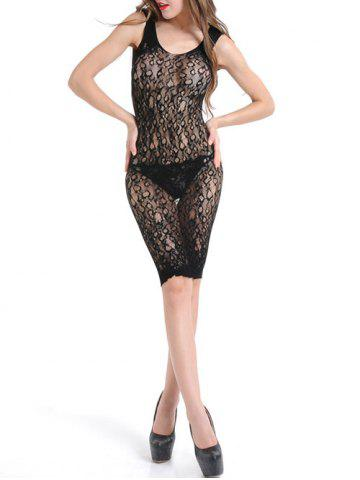 See Through Lace Bodycon Dress - Black - One Size