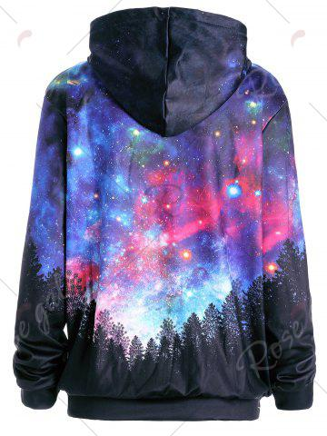 Cheap Starry Sky Forest Print Pocket Hoodie - L COLORMIX Mobile