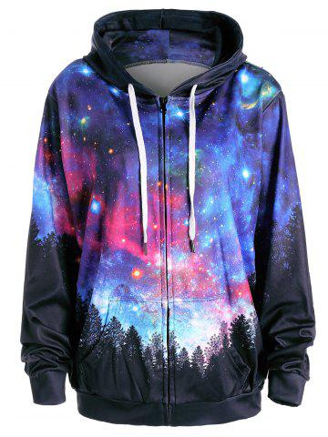 Fashion Starry Sky Forest Print Pocket Hoodie - L COLORMIX Mobile