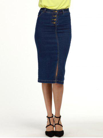 Chic Knee Length Denim Pencil Skirt DEEP BLUE M