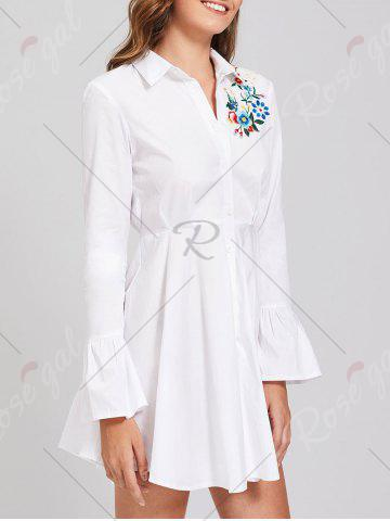Hot Button Up Embroidery Flare Sleeve Shirt Dress - S WHITE Mobile