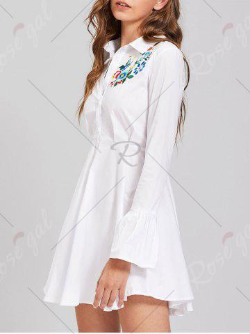 Best Button Up Embroidery Flare Sleeve Shirt Dress - S WHITE Mobile
