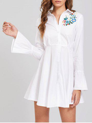 Shop Button Up Embroidery Flare Sleeve Shirt Dress - S WHITE Mobile