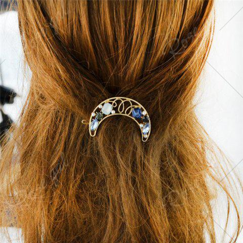 Latest Faux Gem Hollow Out Moon Hair Clip - BLUE  Mobile