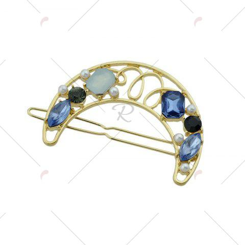 Chic Faux Gem Hollow Out Moon Hair Clip - BLUE  Mobile