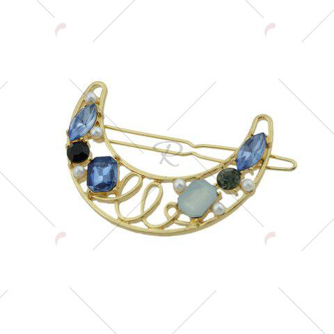 Buy Faux Gem Hollow Out Moon Hair Clip - BLUE  Mobile