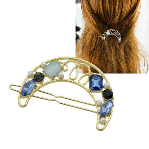 Faux Gem Hollow Out Moon Hair Clip Bleu