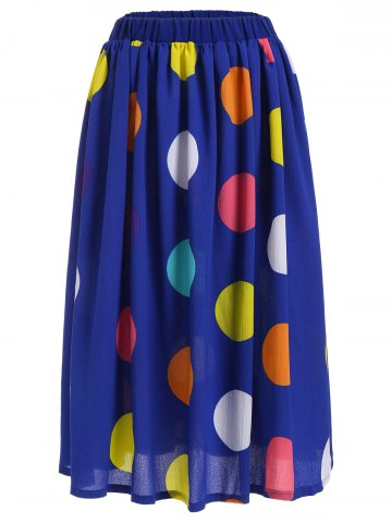 Big Polka Dot Print Elastic Waist Midi Skirt - Blue - S