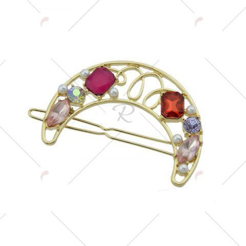 Chic Faux Gem Hollow Out Moon Hair Clip - RED  Mobile