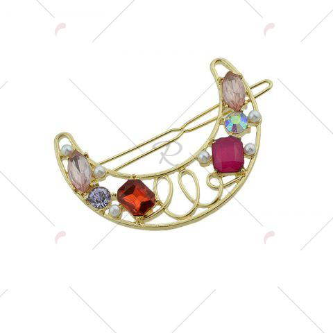 Hot Faux Gem Hollow Out Moon Hair Clip - RED  Mobile