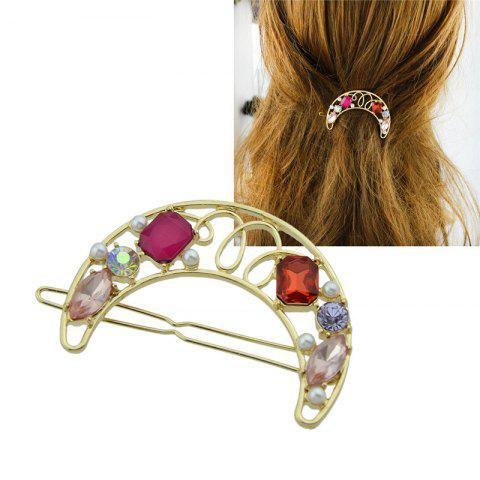 New Faux Gem Hollow Out Moon Hair Clip - RED  Mobile