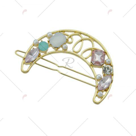Chic Faux Gem Hollow Out Moon Hair Clip - PINK  Mobile