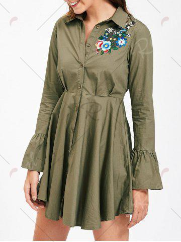 Discount Button Up Embroidery Flare Sleeve Shirt Dress - S ARMY GREEN Mobile