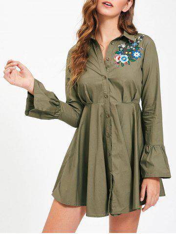 Sale Button Up Embroidery Flare Sleeve Shirt Dress - S ARMY GREEN Mobile