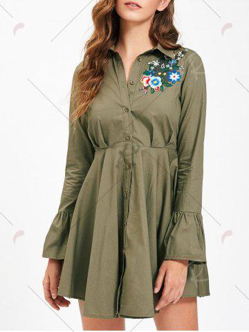 Online Button Up Embroidery Flare Sleeve Shirt Dress - S ARMY GREEN Mobile