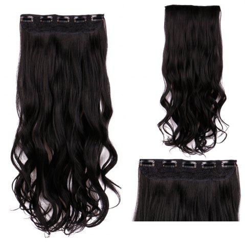 New Clip In Long Wavy Synthetic Hair Extension BLACK