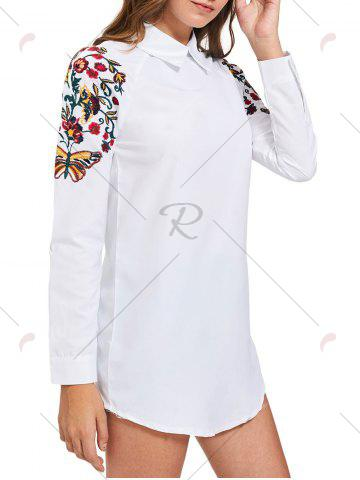 Online Long Sleeve Mini Embroidery Shirt Dress - S WHITE Mobile