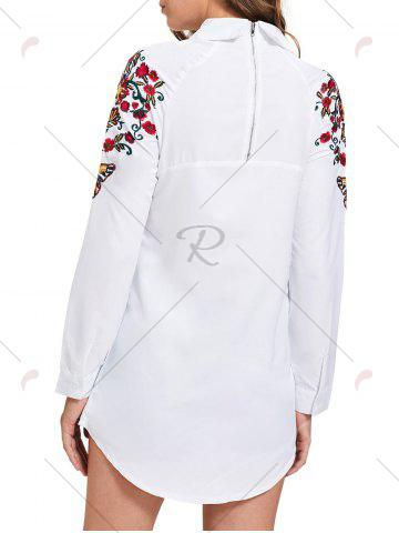 Buy Long Sleeve Mini Embroidery Shirt Dress - S WHITE Mobile
