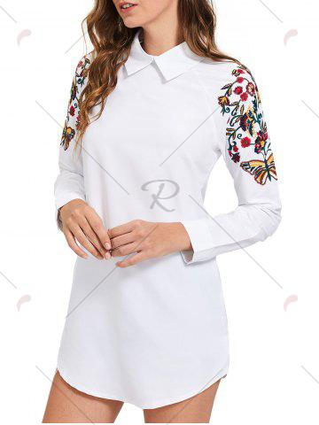 Sale Long Sleeve Mini Embroidery Shirt Dress - S WHITE Mobile