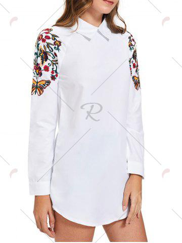 Best Long Sleeve Mini Embroidery Shirt Dress - M WHITE Mobile