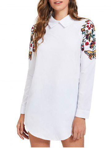 Discount Long Sleeve Mini Embroidery Shirt Dress - M WHITE Mobile