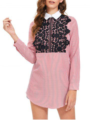 Chic Lace Trim Striped Long Sleeve Shirt Dress - S STRIPE Mobile