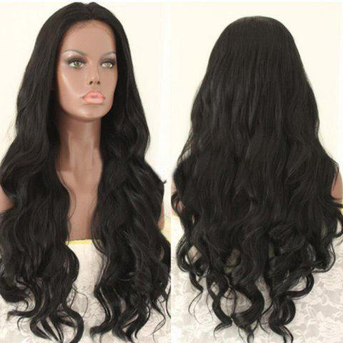 Unique Long Layered Middle Part Wavy Synthetic Wig NATURAL BLACK