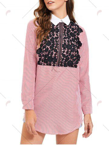 Best Lace Trim Striped Long Sleeve Shirt Dress - M STRIPE Mobile