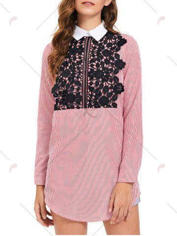 Unique Lace Trim Striped Long Sleeve Shirt Dress - M STRIPE Mobile