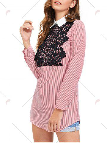 Cheap Lace Trim Striped Long Sleeve Shirt Dress - M STRIPE Mobile