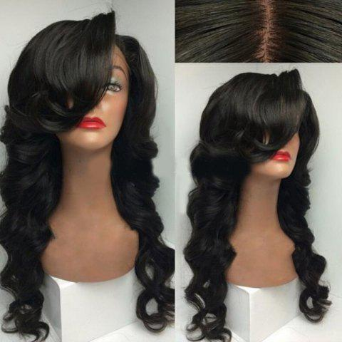 Fancy Deep Side Part Long Loose Wave Synthetic Wig - NATURAL BLACK  Mobile