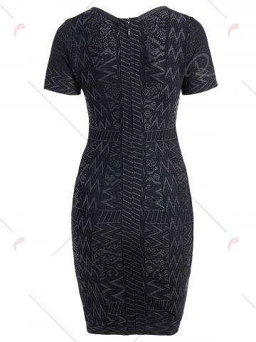 Hot Short Sleeve Bronzing Jacquard Bandage Sheath Dress - S BLACK Mobile