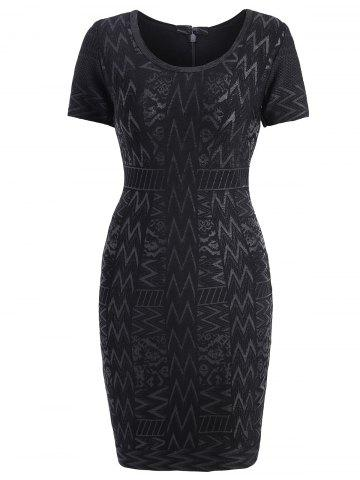 Short Sleeve Bronzing Jacquard Bandage Sheath Dress - Black - L